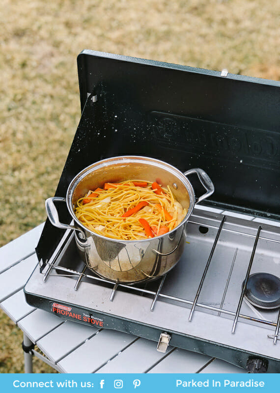 One pot lo mein camping meal