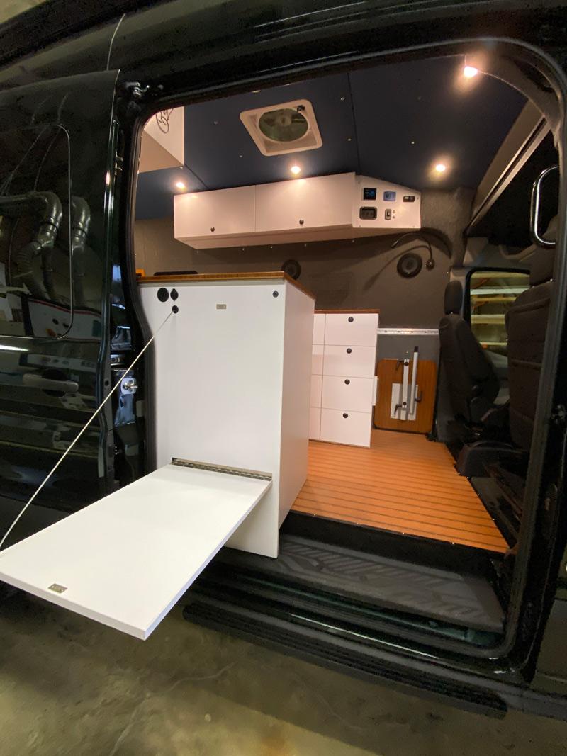 overland van project camper conversion storage