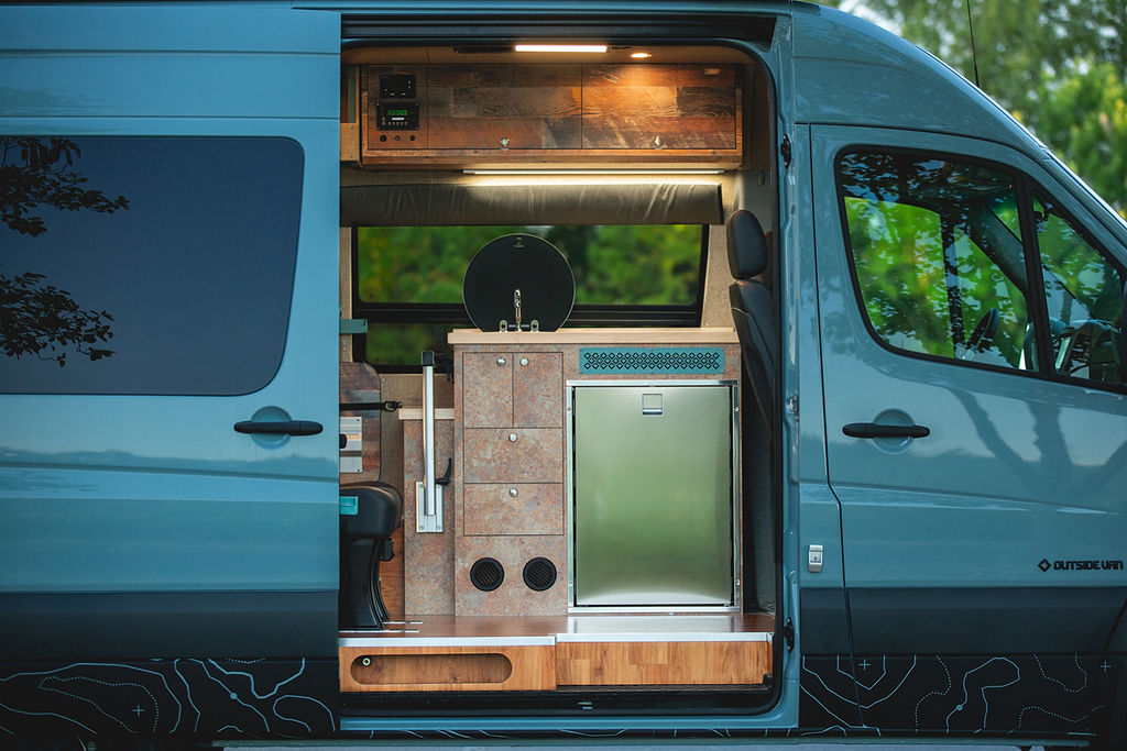 kitchen in an outside van camper conversion