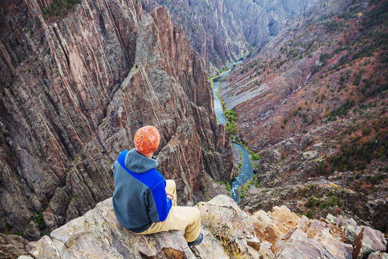 overlooking black canyon of the gunnison while on a camping trip