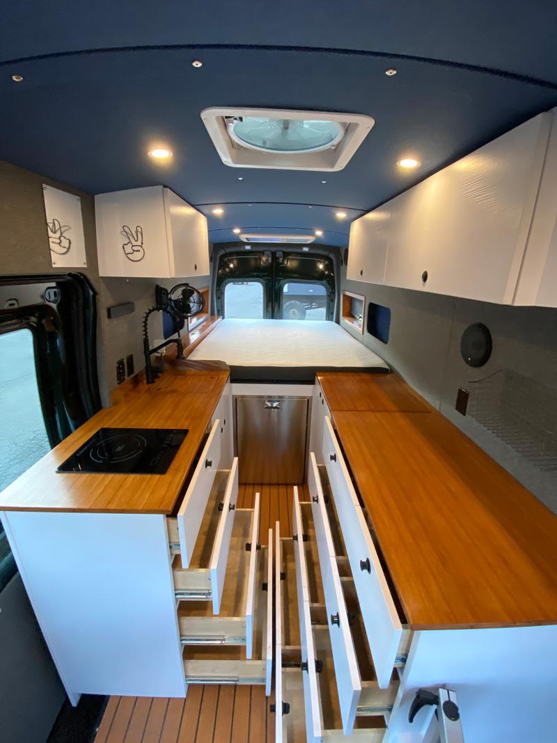 overland van project camper drawers