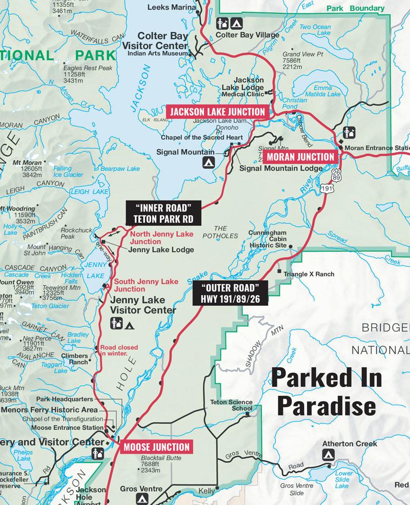 grand teton national park 42-mile scenic loop drive map