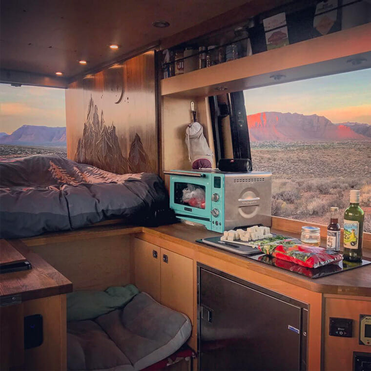Campervan with windows and a view