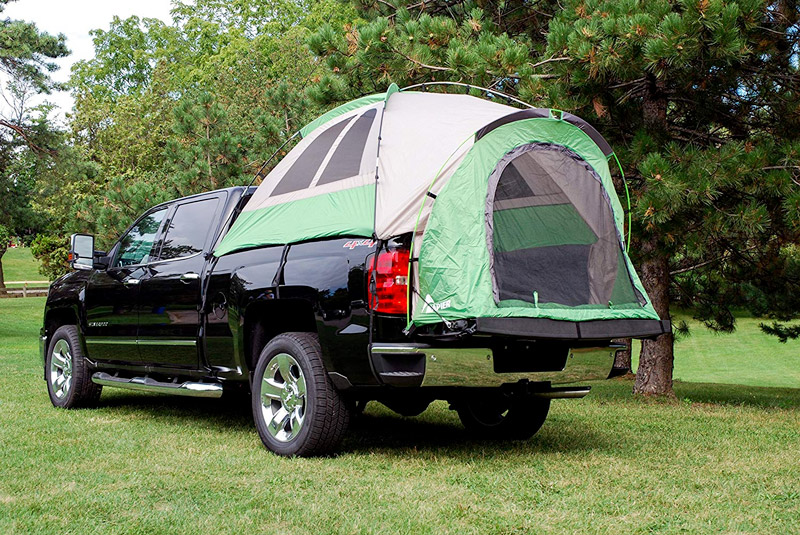 Camping in a pick up truck tent
