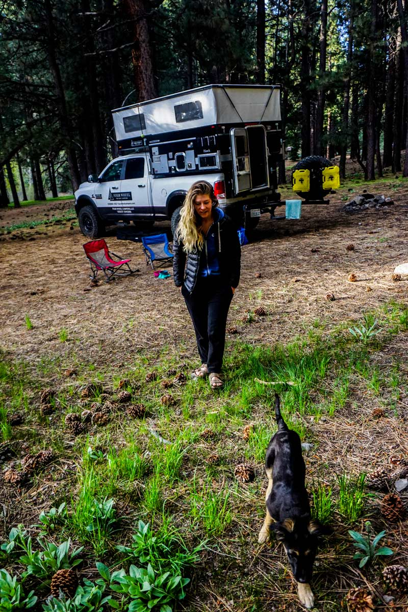 taking a pop up truck camper off grid into the wilderness