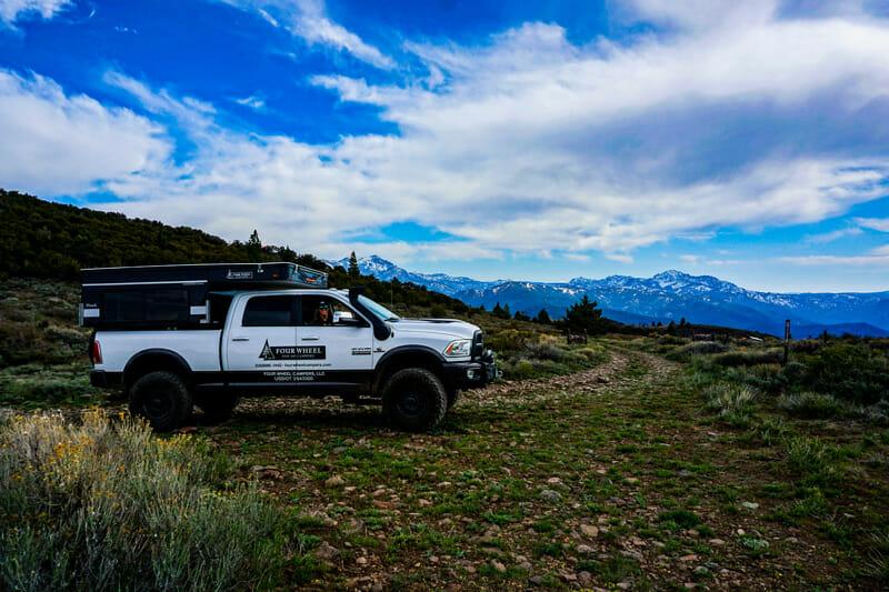 pop up truck camper on a camping trip