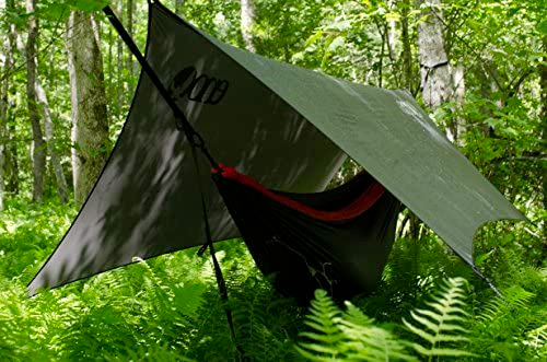 eagle's nest outfitters profly rain fly. ENO tarp over a camping hammock