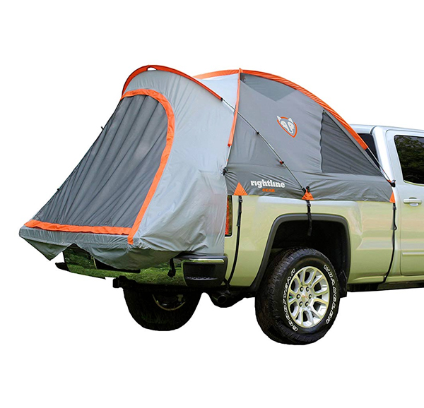 overnight camping with a floorless pickup truck tent