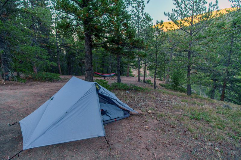 tent in roosevelt national forest near rocky mountain national park