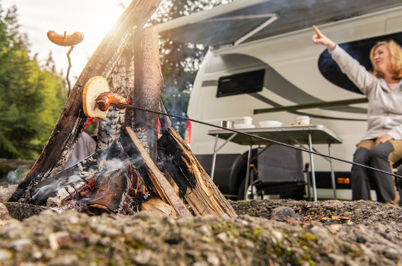 cooking over a campfire in an rv