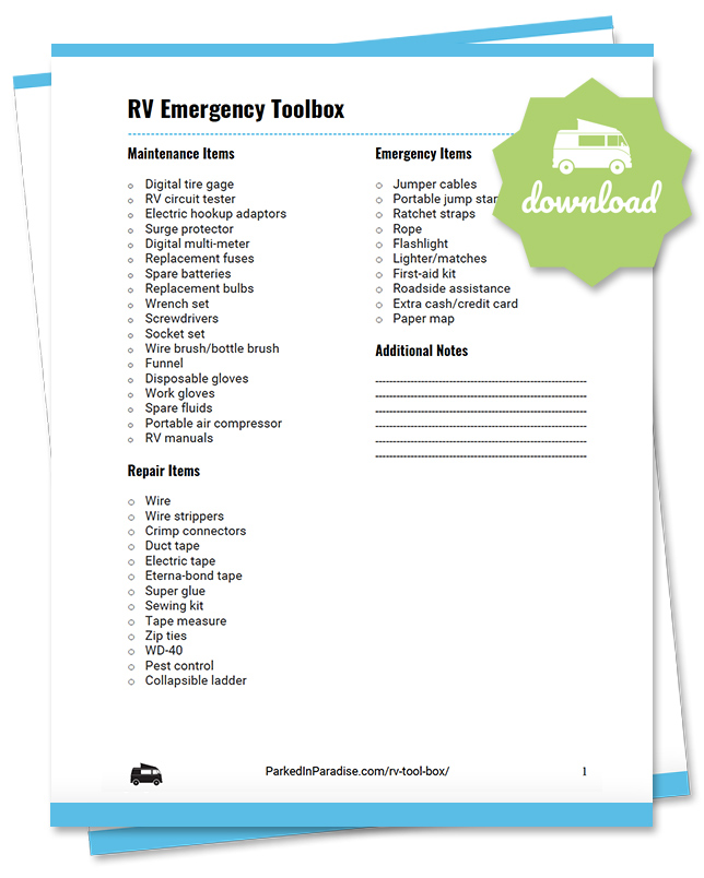 printable rv emergency packing list checklist for motorhomes, 5th wheel campers, and travel trailers