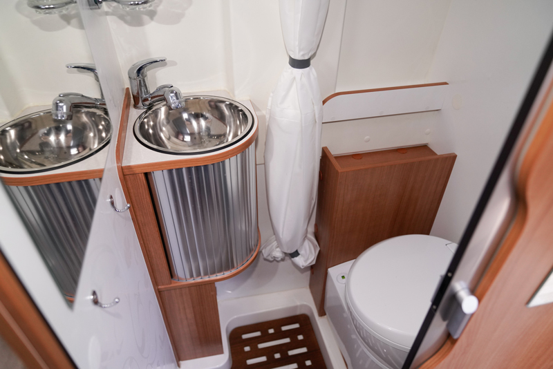 taking a hot water shower in an rv camper