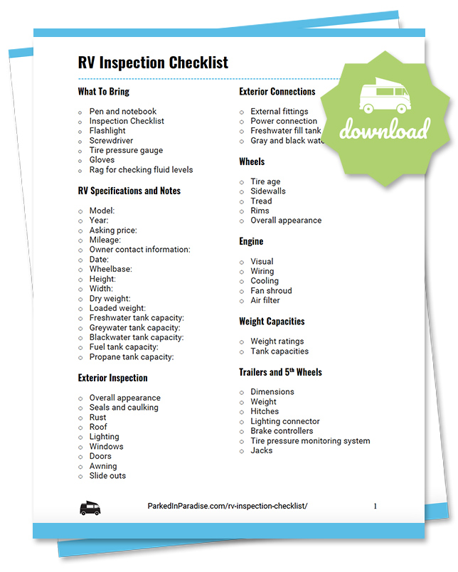 printable rv inspection checklist for motorhomes, 5th wheel campers, and travel trailers