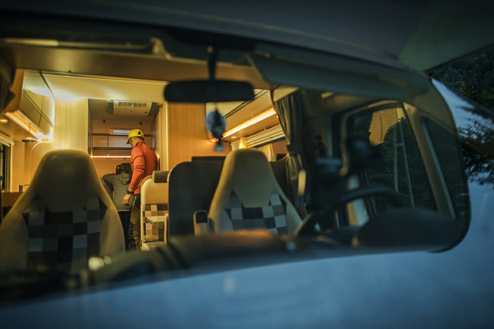 rv interior with led lghts