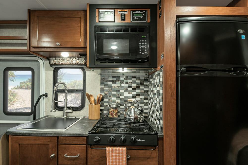 RV Kitchen With A Propane Refrigerator