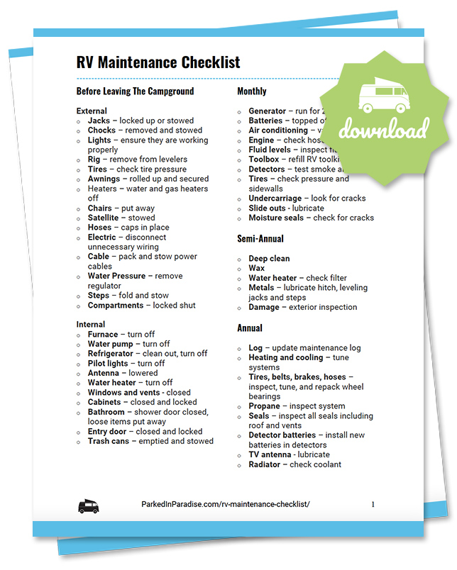 printable rv maintenance checklist for campers and travel trailers