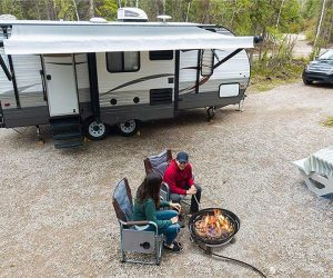 RV Campers With A Portable Fire Pit