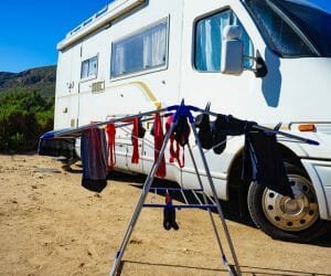 Drying Clothes Next To An Rv After Using A Portable Washing Machine