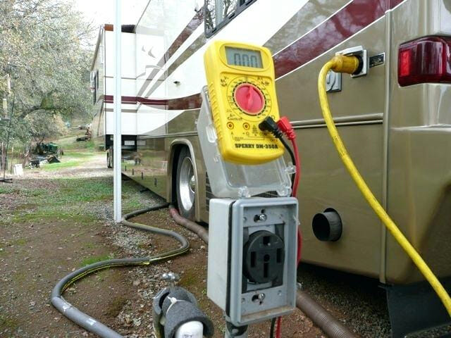 rv power extension cord and multimeter