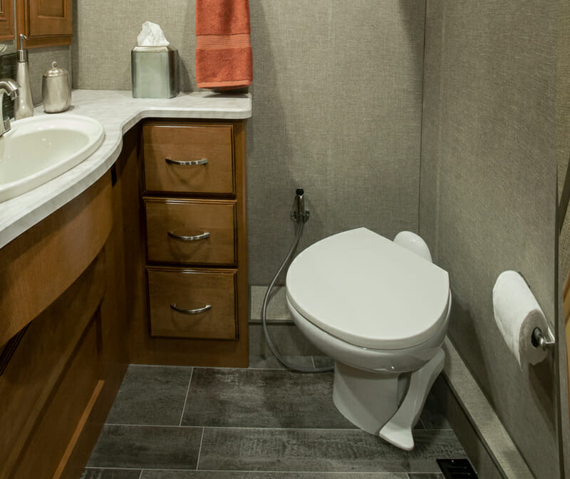 RV toilet with foot pump and sprayer nozzle