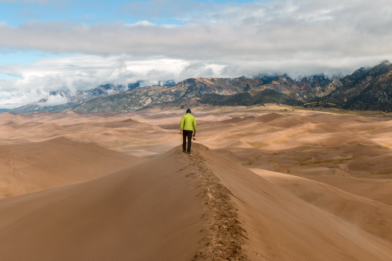 walking up star dune in great sand dunes national park colorado