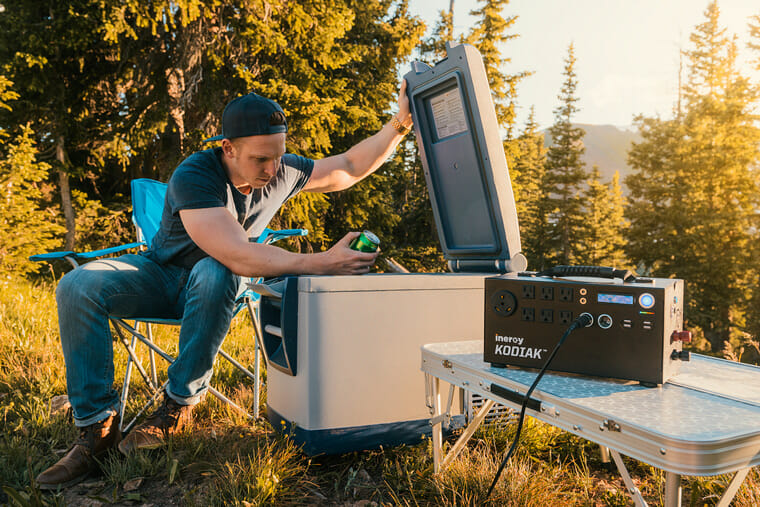 Charging a 12v portable fridge with a solar powered generator while camping