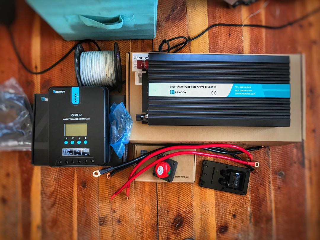 solar power system 12v inverter for a camper van conversion or RV
