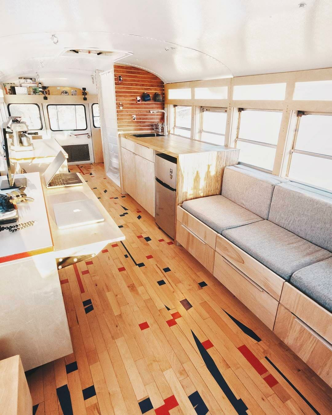 diy skoolie interior camper build
