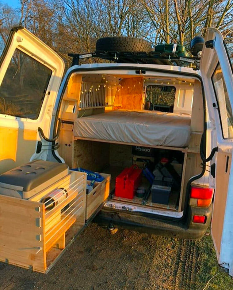 camping kitchen setup in a diy camper