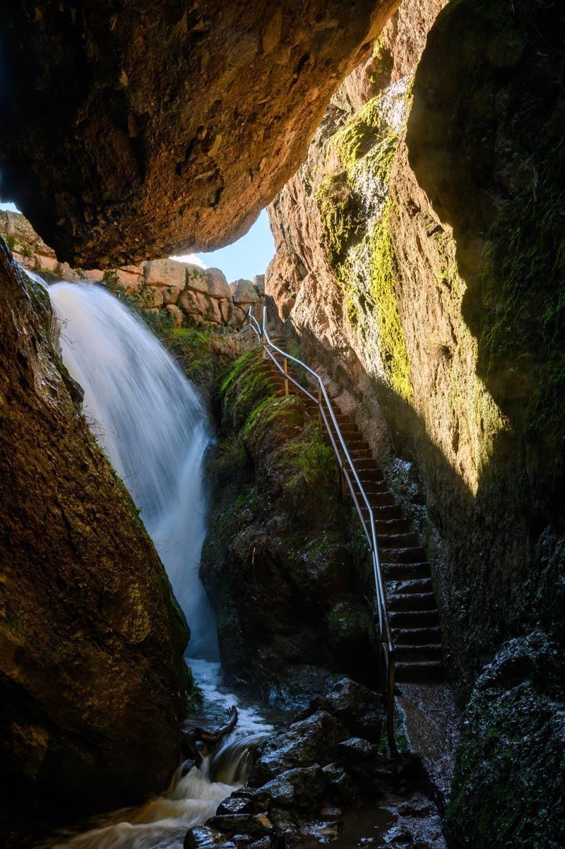 Water flowing through Talus rocks in pinnacles national park california