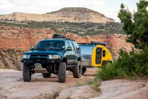 Driving a teardrop trailer off road for camping