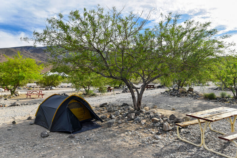 Tent camping in death valley national park