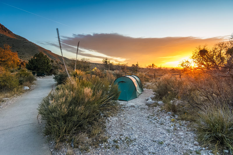 tent camping at guadalupe mountains national park