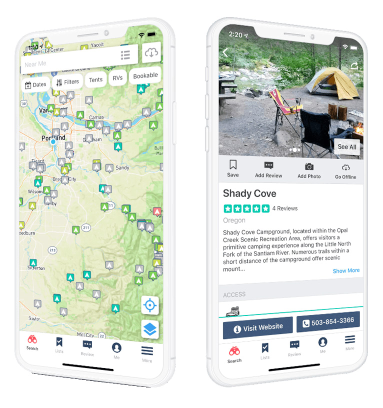 the dyrt road trip planner and camping app