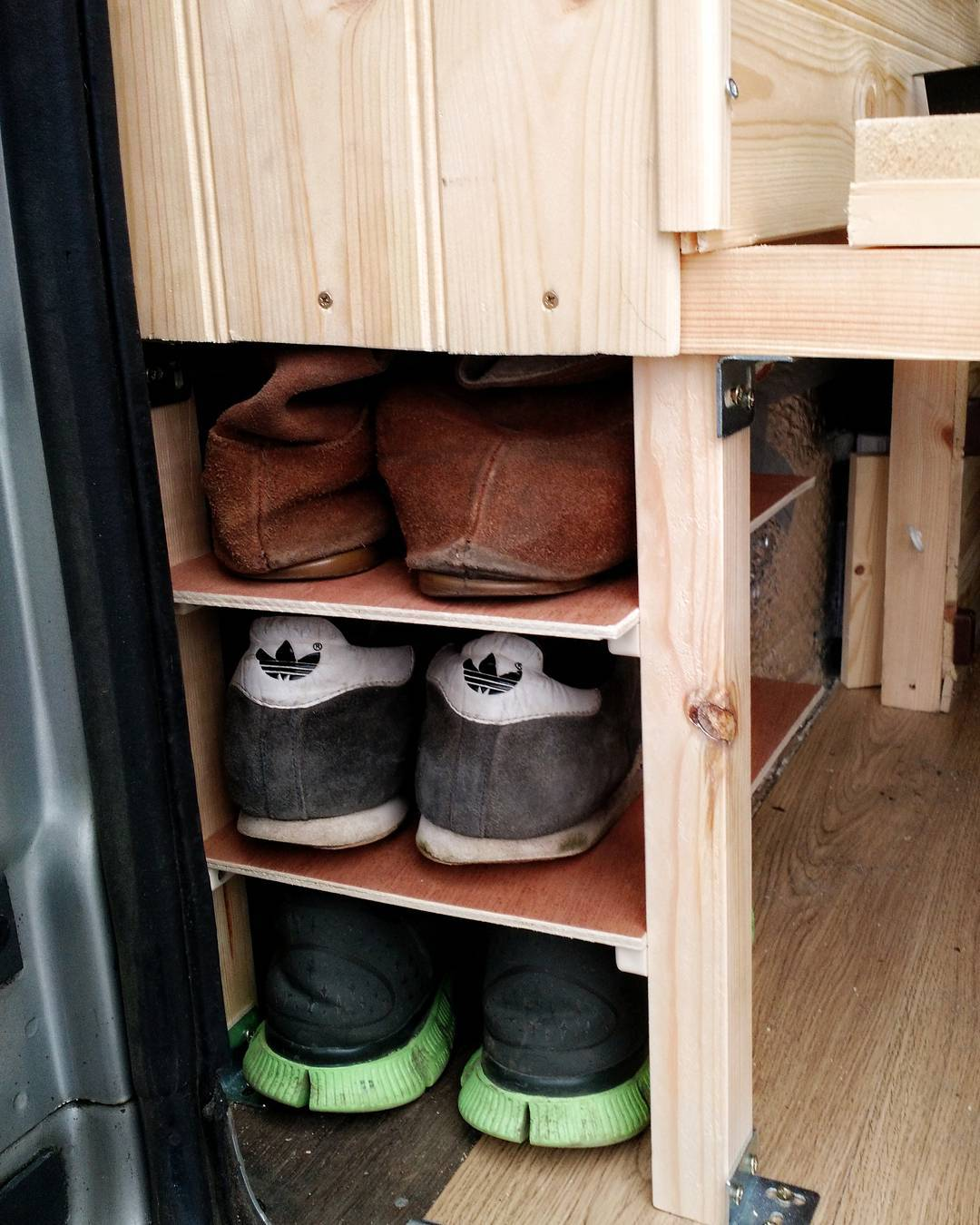 storing dirty shoes in a camper van conversion