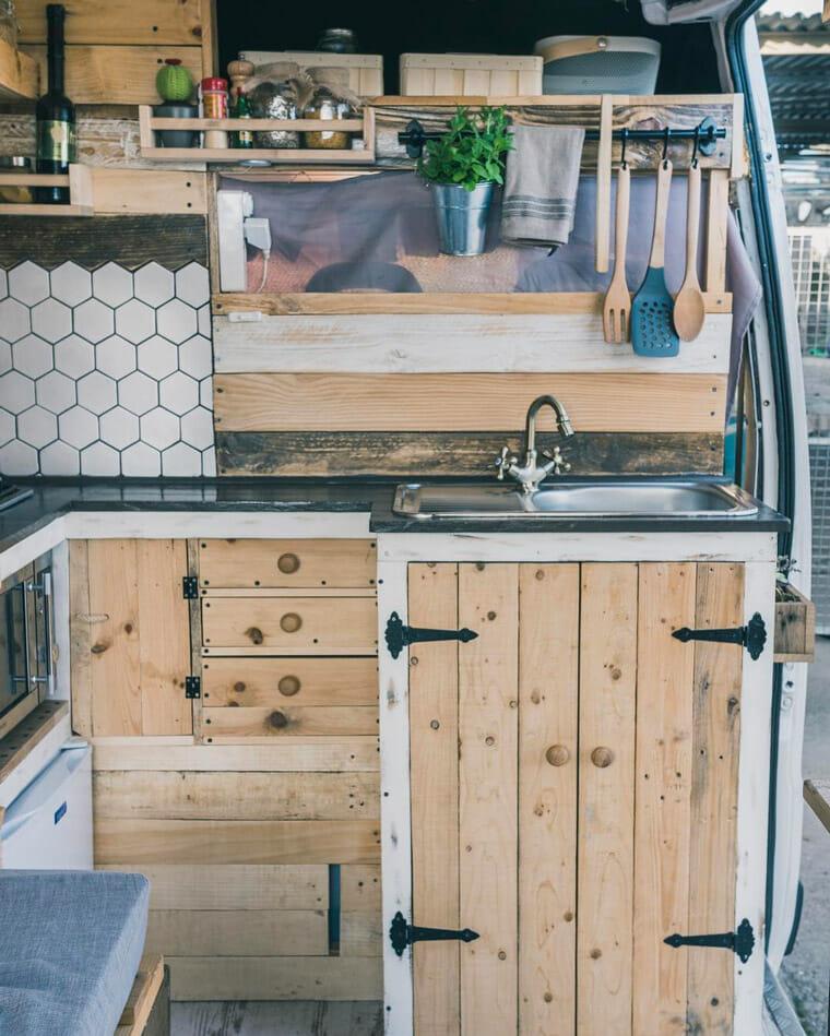 creative DIY campervan conversion kitchen build