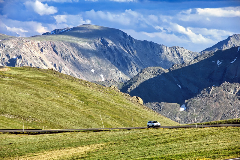 Driving Up Trail Ridge Road In Rocky Mountain National Park Colorado