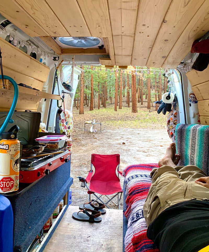 living and camping in a ford transit connect van