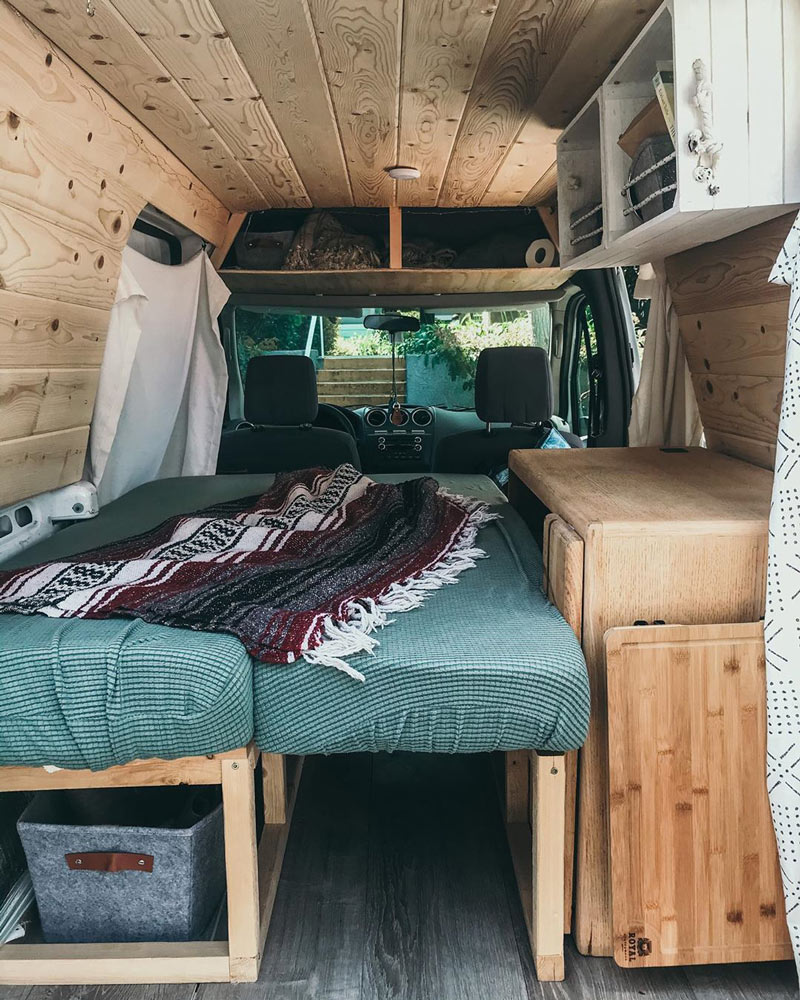 sleeping and camping in a ford transit connect conversion