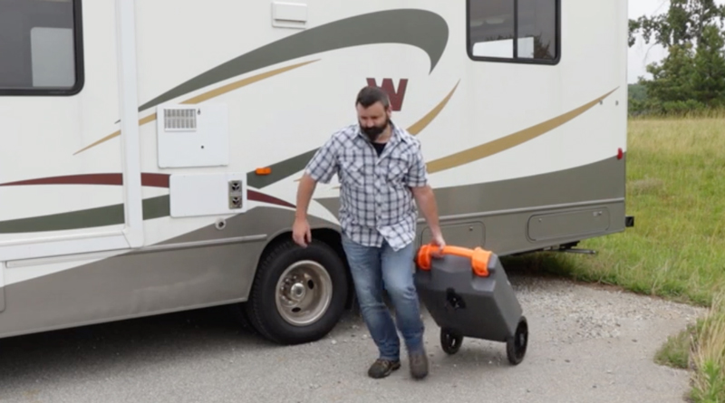 How to transport an RV portable waste water tank