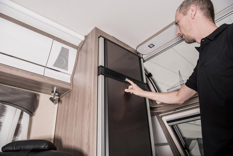 3-way refrigerator inside an rv camper or travel trailer