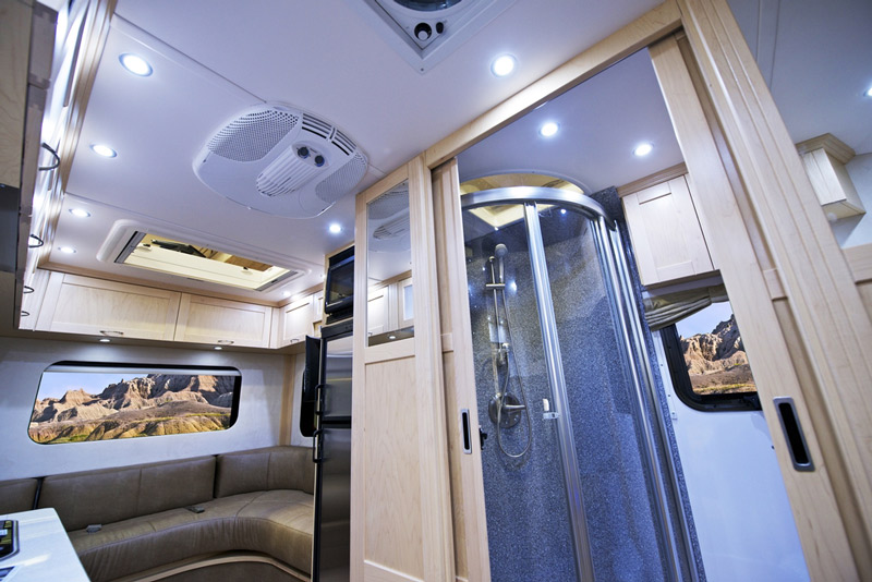 travel trailer rv with an onboard shower head upgrade