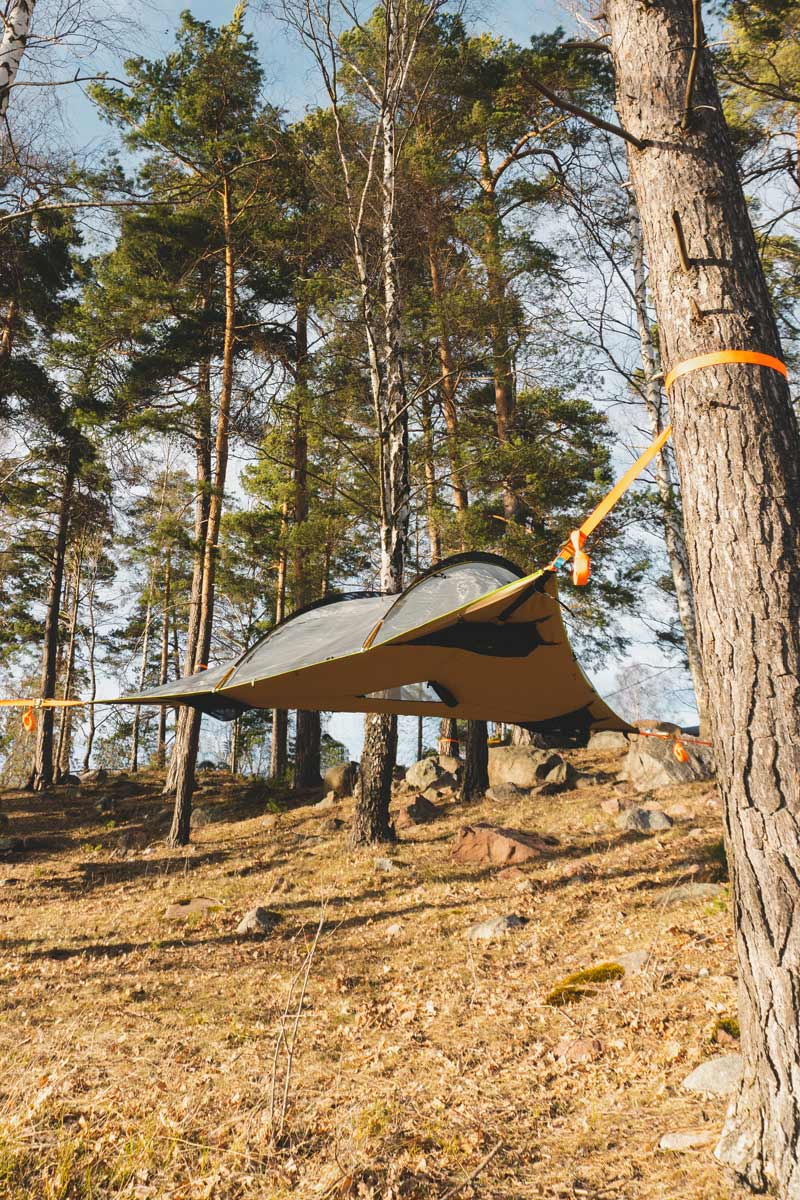 center hatch to climb into a tree tent while camping