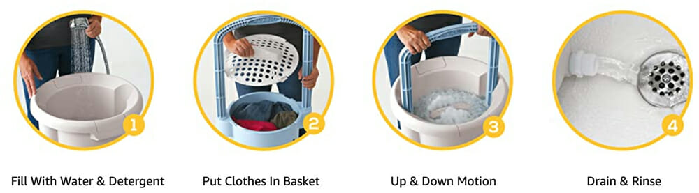 how to use a portable washing machine while camping