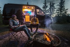 living the van life in a diy camper van conversion