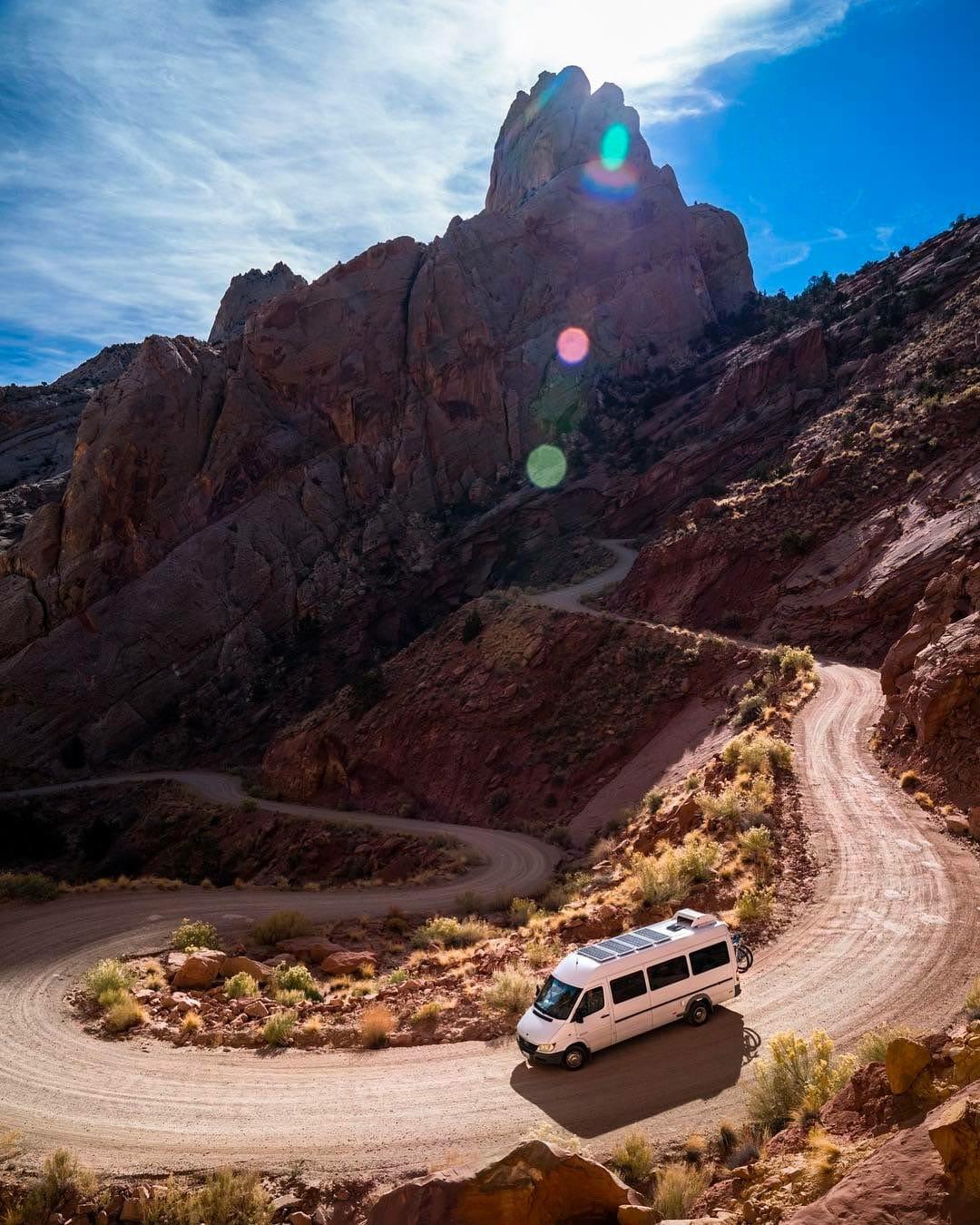 Converted mercedes sprinter van driving in the desert
