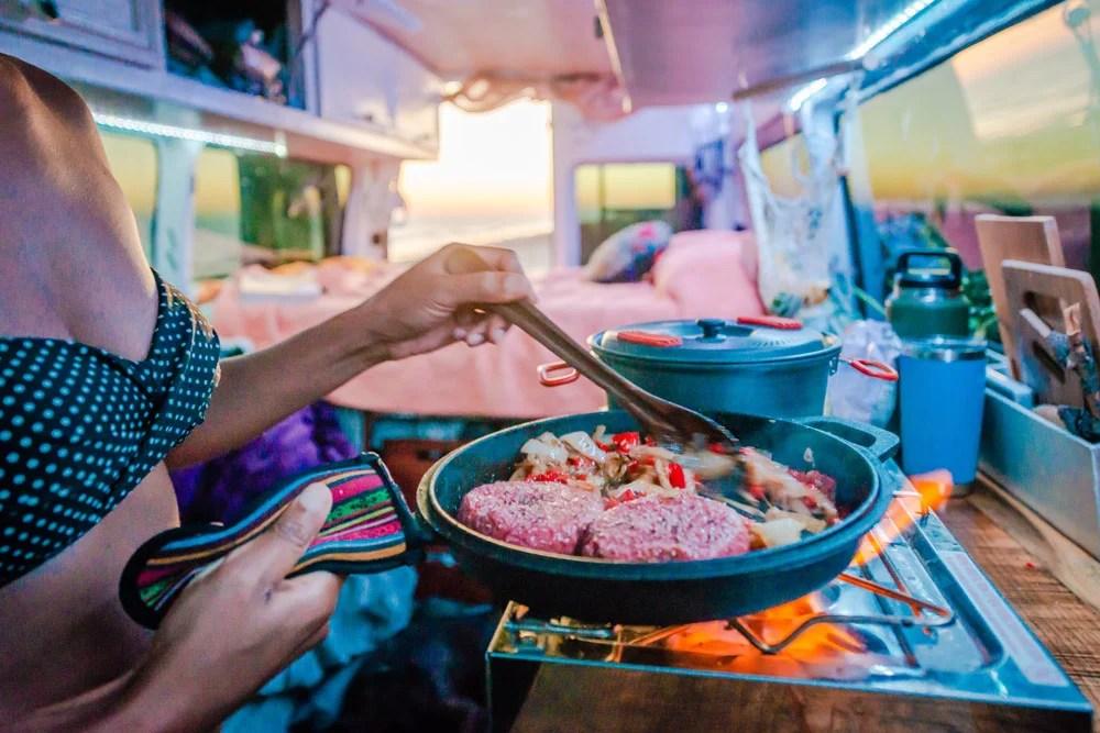 cooking food in a van life kitchen