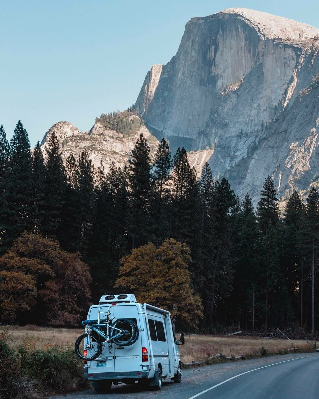 traveling to yosemite in a campervan conversion