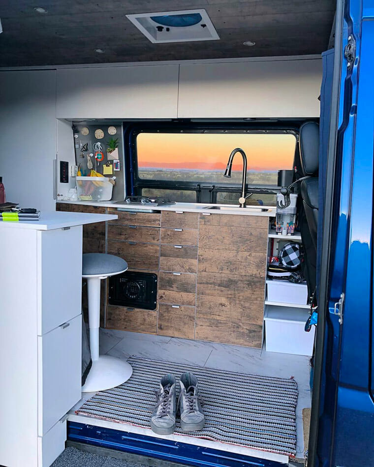 Modern camper van kitchen layout