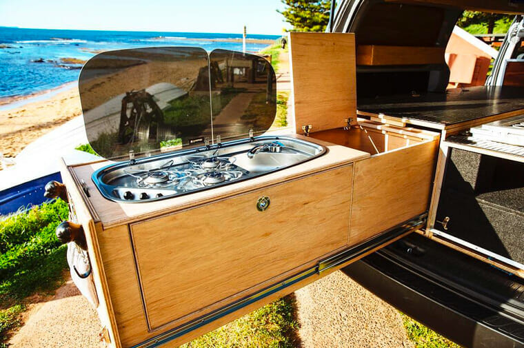 pull out camper kitchen in a diy campervan conversion build